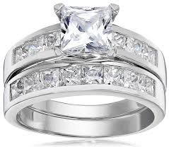 engagement rings and wedding band sets 1 carat radiant cz sterling silver 925 wedding