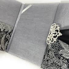 and black wedding invitations black metallic silver brocade wedding invitation pocket folder