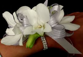 white wrist corsage grande flowers sophisticated white orchid wrist corsage