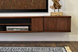 floating tv stand entertainment center console curve mocha 3