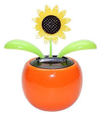 Smiley Face Vase 4 Eco Friendly Bobblehead Solar Dancing Flowers In Colorful Pots