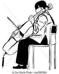 clipart vector of sketch of a woman playing a cello bow a sketch