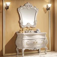 foil paint champagne golden and white oak cabinet and mirror rose