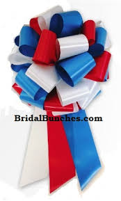 white and blue bows 14 12 x30 white and blue satin wedding pew bows church