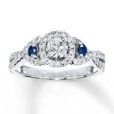kay jewelers diamond engagement rings kay diamond sapphire ring 3 4 ct tw round cut 14k white gold