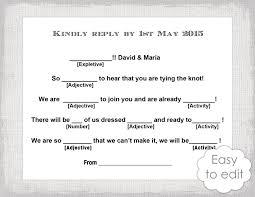 Thanksgiving Madlib Wedding Libs Rsvp Template Download Diy Mad Libs