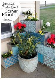 stenciled concrete planters for spring stencil search