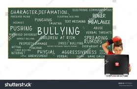 boy laptop stop cyber bullying blackboard stock photo 257794912