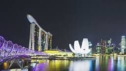 Bay Bridge Light Show Singapore Marina Bay Sands And Helix Bridge Water And Light Show