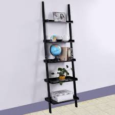 bk wh 5 tier leaning wall display bookcase bookcases u0026 standing