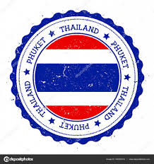 Blue Flag Stars In Circle Phuket Flag Badge Vintage Travel Stamp With Circular Text Stars