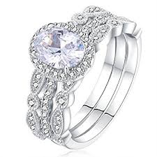 Engagement And Wedding Ring Sets by Amazon Com Newshe Jewellery 3pcs White Cz 925 Sterling Silver