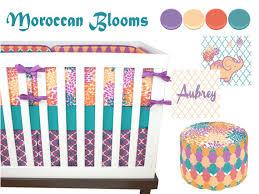 Moroccan Crib Bedding Moroccan Blooms Crib Bedding Baby Bedding Purple Turquoise