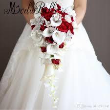 Silk Calla Lilies Artificial Calla Lilies Teardrop Wedding Bouquet Red Rose 2017