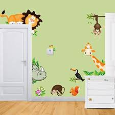 stickers girafe chambre bébé sticker4u mural animaux amusants pour chambre d enfant