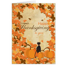 thanksgiving cats greeting cards zazzle co uk