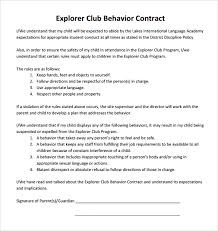 behavior contract template 9 free sample example formatsample