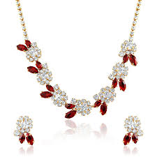 fashion jewellery necklace sets images Buy oviya fashion jewellery white red necklace set with crystal jpg