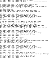 Blind To You Lyrics Love Song Lyrics For If That U0027s What It Takes Bon Jovi