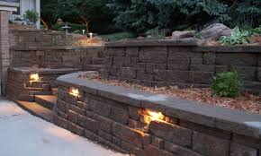 excellent decoration retaining wall lighting marvelous outdoor
