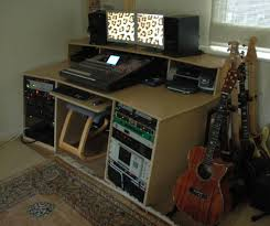 studio desk with equipment installed