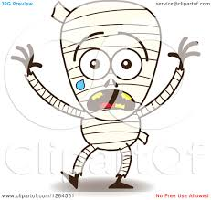 clipart of a scared halloween mummy crying royalty free vector