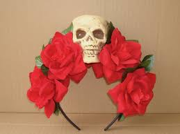 day of the dead headband skull headband flower hair accessory costume day of the