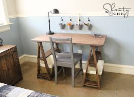 Build A Wooden Table Top by Ana White 1x3 Sawhorse Desk Diy Projects