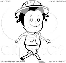 cartoon clipart of a black and white happy safari walking