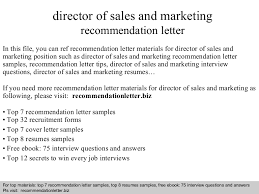 Sales And Marketing Resume Director Of Sales And Marketing Recommendation Letter