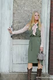pink and olive olive utility dress with pink bow blouse