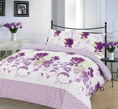 Lilac Bedding Sets Bethany Printed Lilac Duvet Quilt Cover Bedding Set Linen And