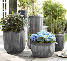 Discount Outdoor Planters by Concrete Fluted Planters Pottery Barn