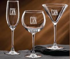 wine glass with initials personalized barware from dann monogramed and engraved