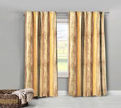 Yellow Brown Curtains Mustard Yellow Brown Striped Pair Of Polycotton Curtains Blackout