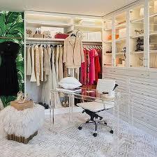 corner lucite desk in walk in closet contemporary closet