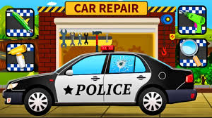 police car for kids police car repair and wash for children