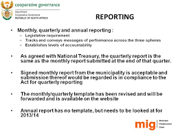 reporting monitoring and performance evaluation provisions on non