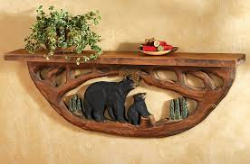 carved wood family wall shelf