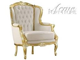 Gold Accent Chair Acme Kassim White Faux Leather And Gold Arm Chair