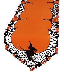 halloween purple and orange background decoration halloween party table runner with lace trim 13x70