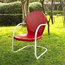 Metal Retro Patio Furniture by Shop Crosley Furniture Griffith Red Steel Patio Conversation Chair