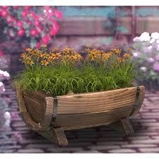 vintiquewise half barrel garden planter small qi003140 s the