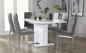 Table With 6 Chairs Osaka White High Gloss Extending Dining Table With 6 Leon Grey