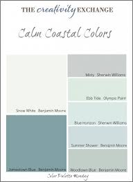 collection of calm coastal paint colors color palette monday the