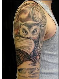 owl clock tattoo designs clock and owl tattoos on half clock