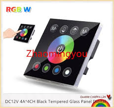 touch screen wall light switch discount dc12v 4a 4ch black tempered glass panel digital touch