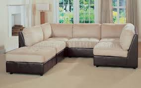 Sectional Or Two Sofas Leather And Microfiber Two Tone Sectional Sofa