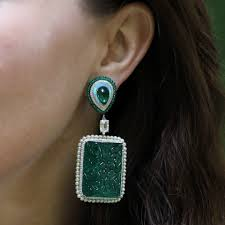 green opal earrings arunashi carved emerald and opal earrings in green lyst