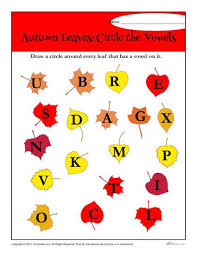 autumn leaves circle the vowels worksheet activity